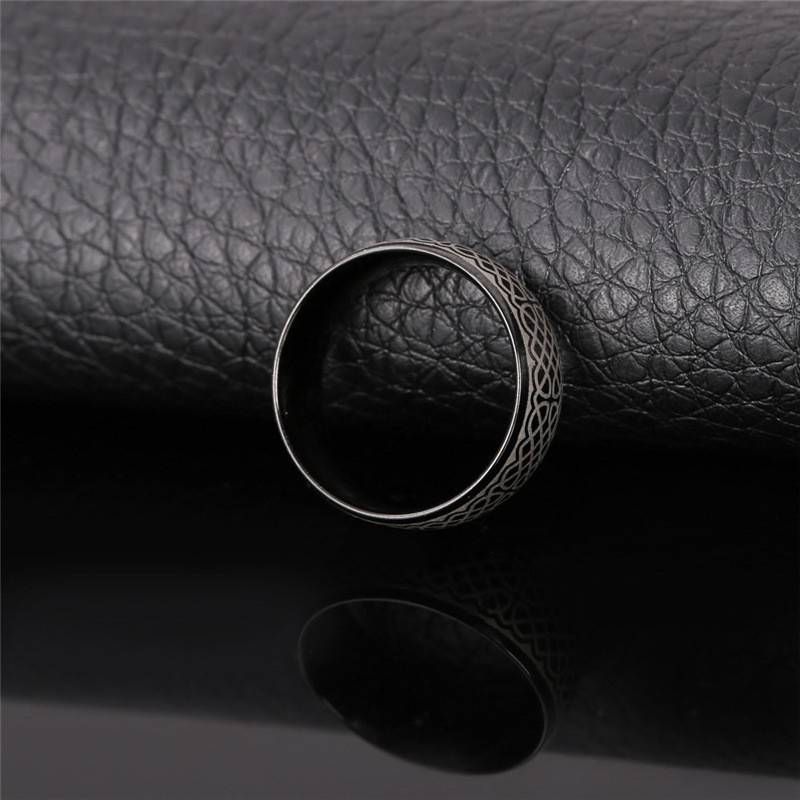 Antique Viking Patterned Steel Men's Band Ring New In Rings