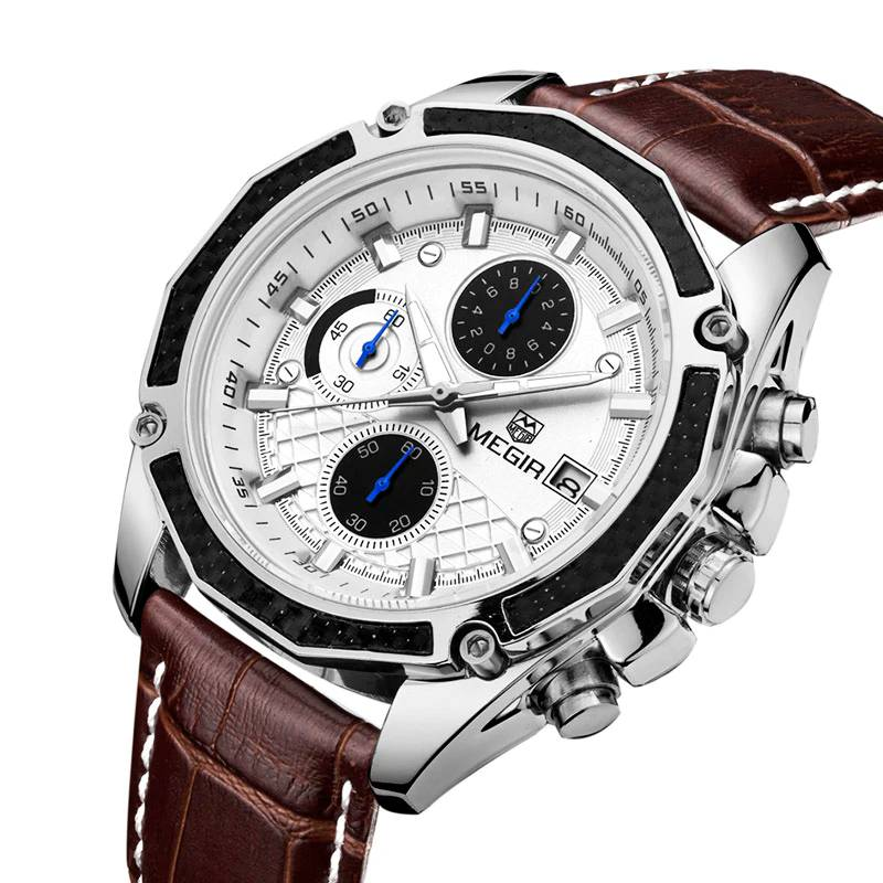 Quartz Wristwatches for Men with Leather Strap and Chronograph Watches